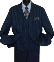 SD160 Mens Navy Blue Peak Lapel Single Breasted Striped