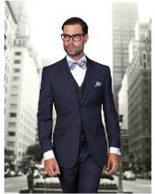JSM-1327 Mens Statement 2 Button Navy Blue Modern Fit