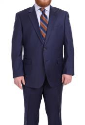 SM4898 Mens Notch Lapel Solid Navy Blue Portly Fit