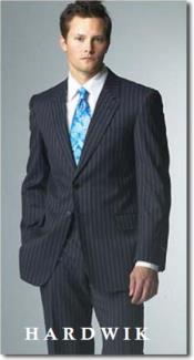 Two Button Navy Blue Shade Pinstrip Suits for Online