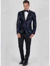 JSM-582 Mens 2 Button Navy Velvet Snake Skin Slim