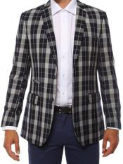 JA166 Ferrecci Mens Plaid Slim Fit Navy Blazer Dinner