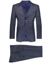 GD1798 Mens Slim Fit 2 Button Suit Window Pane