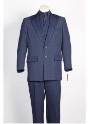 JSM-93 Mens Navy White 2 Button Single Breasted Suit