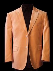 JS365 Mens Two Button Orange Sport Coat Blazer Jacket