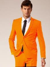 JS388 Mens 2 Button Notch Lapel Orange Suit