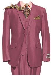 JSM-2497 Mens 2 Button Pink 3 Piece Notch lapel