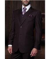 JSM-1270 Mens Statement 2 Button Plum 3 Piece Italian