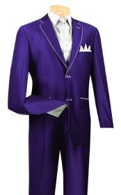 JSM-423 Mens 3 Piece Purple And White Trim Lapel