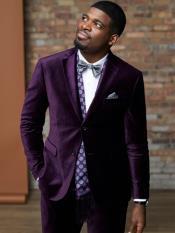 JS386 Mens 2 Button Purple Velvet Tuxedo Suit