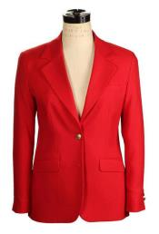 JSM-4178 Womens 2 Button Belle Fit Wrinkle Resistant Red