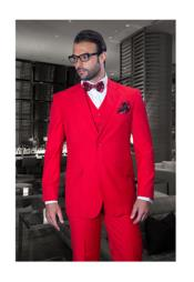 JSM-1293 Mens 2 Button Modern Fit Solid Red Wool