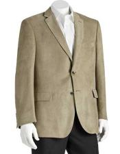 JSM-1466 Mens 2 Button Microsuede Notch Lapel Sage Polyester