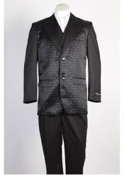 JSM-360 Mens 2 Button Shiny Single Breasted Black Suit