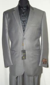 AC-685 Two Button Suit New Edition Shiny Sharkskin Silver