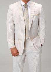UL9882 Two Button Vented Summer Seersucker Fabric Suit (Jacket