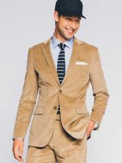 Mens 2 Button CORDUROY Tan