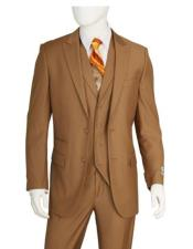 F62SD Discounted Mens Taupe 2 Buttons 3 Pieces Vested