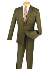 Taupe 100% Wool Plaid ~ Windowpane Pattern Slim Fit