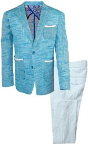 JA197 Mens Single Breasted Teal Mens 2 Piece Linen