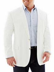 JSM-324 Mens White Cotton 2 Button Linen Long Sleeves