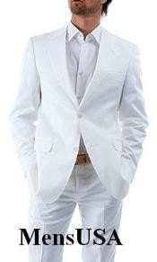 FER336 $98899 Elegant Two Button Snow White Suit (