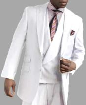 JSM-3111 Mens 2 Button Single Breasted White Peak Lapel