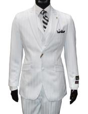 GD819 Falcone Men's Single Breasted 2 Button Vested Striped