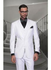 JSM-1306 Mens Statement 2 Button Solid White Modern Fit
