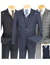 CH2322 Mens Plaid ~ Windowpane Slim Fit Blazer ~
