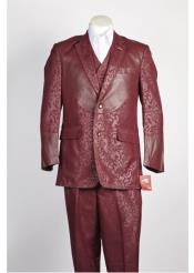 JSM-367 Mens 2 Button Shiny Single Breasted Wine Suit