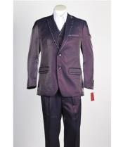 JSM-445 Mens 2 Button Two Piece Wine Suit