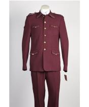JSM-479 Mens 5 Button 2 Piece Wine Safari Military