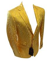 GD772 Mens Single Breasted Two Button Notch Lapel Yellow