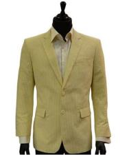 128448 Mens Two Button Yellow White Classic Seersucker Trending
