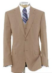 BER-TZ100 Men's 2 Button Style Wool Fabric Vested Beige