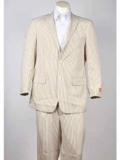 Cheap priced mens Seersucker Suit 2 Button Style Beige