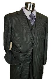 KA5048 Liquid Jet Black Stripe ~ Pinstripe Vested 3