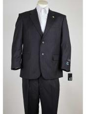 SM959 Mens Pinstripe Single Breasted 2 Button Style Notch