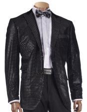 JSM-5442 Mens Black Two Buttons Shimmer-Patterned Blazer with Velvet