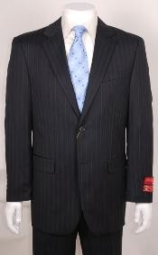 WE456 Liquid Jet Black Stripe ~ Pinstripe 2 Button