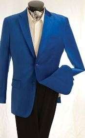 QF3843 Fashion 2 Button Style Velvet Jacket royal blue