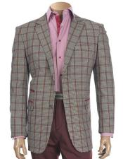 JSM-5440 Mens Two Buttons Plaid Pattern Burgundy Blazer with