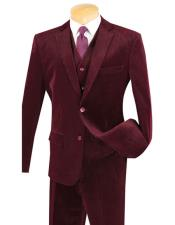 CH1670 Mens Two Buttons Burgundy Pinstripe ~ Stripe corduroy