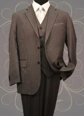 HE555 Classic 3PC 2 Button Style Dark Grey Masculine