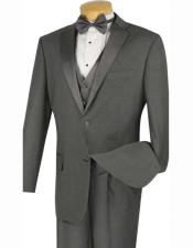 JSM-1553 Mens 2 Buttons Charcoal Grey ~ Gray 4pc
