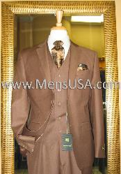 MC3822 2 Button Style 3 Piece Mocca Fitted Suit
