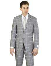 GD1507 Mens Gray Plaid ~ Windowpane Pattern 2 Buttons