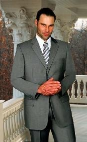 JY446 Extra Long 2PC Solid Color Gray Suit Available
