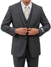 M161S000 2 Button Style Front Closure Grey Pinstripe Slim